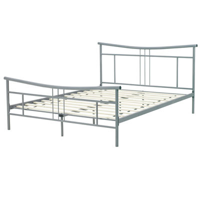 SCARLETT DECORATIVE METAL  BED SILVER QN