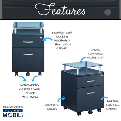 Techni Mobili Graphite With Glass Top Rolling File Cabinet