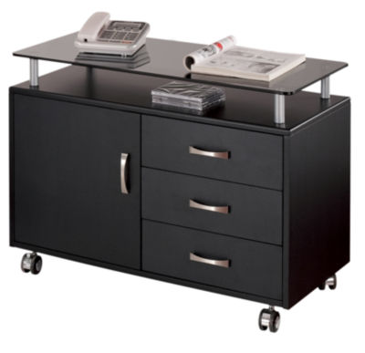 Techni Mobili Graphite Rolling Storage Cabinet With Frosted Glass Top Printer Cart