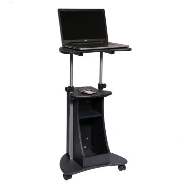 RTA Products LLC Techni Mobili Rolling Adjustable Laptop Cart With Storage