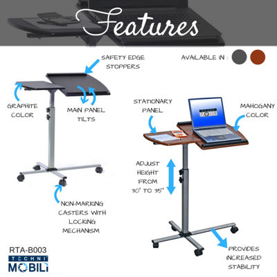 Techni Mobili Rolling Adjustable Laptop Cart Desk