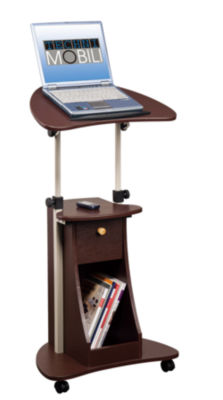 Techni Mobili Rolling Adjustable Laptop Cart With Storage Desk