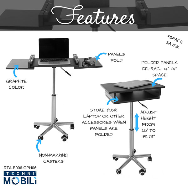 Techni Mobili Folding Table Laptop Cart Desk