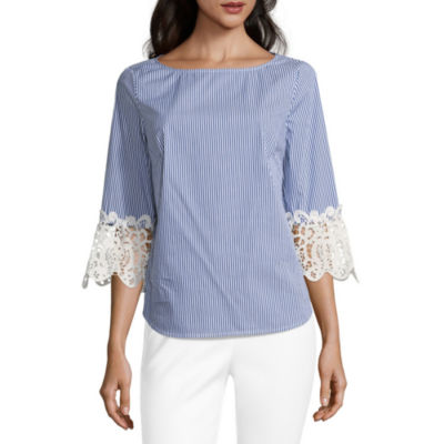 Liz Claiborne Elbow Lace Sleeve Stripe Blouse