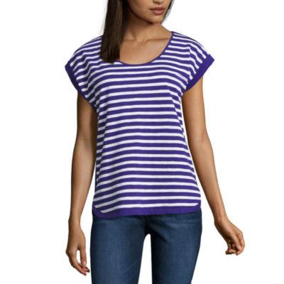 Liz Claiborne® Short-Sleeve Cuffed Stripe Tee