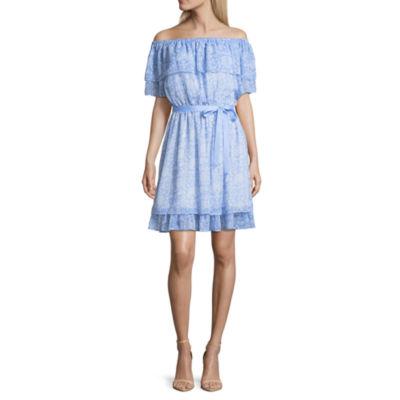 Disney Princess Disney Princess Easter Short Sleeve Floral Fit & Flare Dress-Juniors