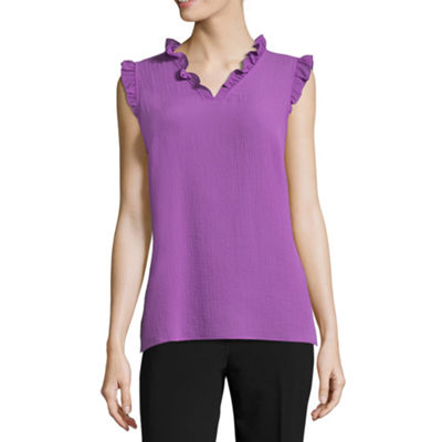 Liz Claiborne V-Neck Ruffle Shell - Tall