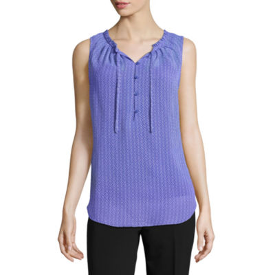 Liz Claiborne Sleeveless Henley Shirt - Tall