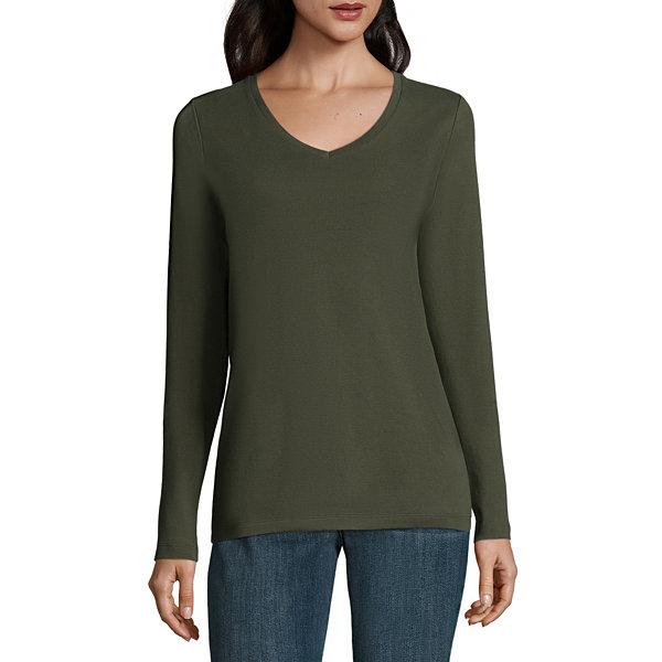 St. John's Bay Long Sleeve V- Neck T-Shirt- Talls