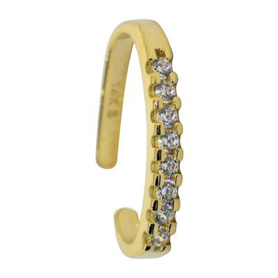 White Cubic Zirconia 14K Gold Ear Cuffs