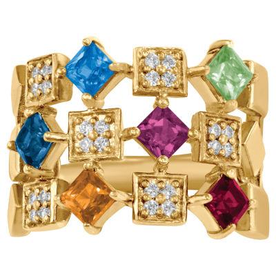 Personalized Womens Genuine Multi Stone 14K Gold Band