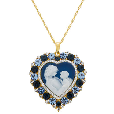 Womens Simulated Blue Crystal 14K Gold Over Silver Heart Pendant Necklace