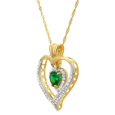 Womens Simulated Green Cubic Zirconia 14K Gold Over Silver Heart Pendant Necklace