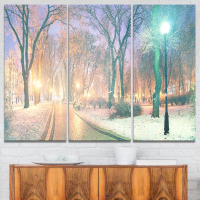 Designart Snowy Path In Mariinsky Garden LandscapePhotography Canvas Print - 3 Panels