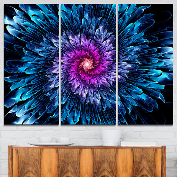 Designart Magical Glowing Fractal Flower Floral Art Canvas Print - 3 Panels