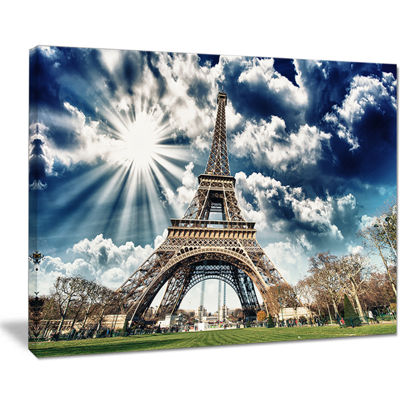 Designart Magnificent Paris Eiffel Towerview Skyline Photography Canvas Art