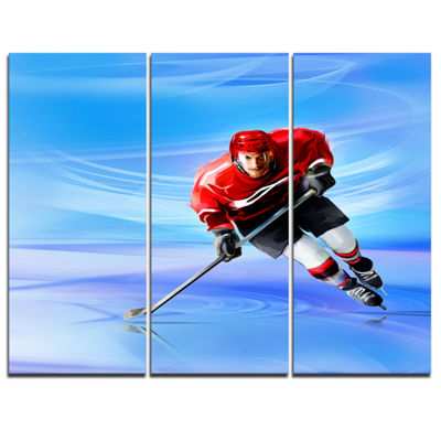 Designart Male Hokey Player Abstract Portrait Canvas Print - 3 Panels