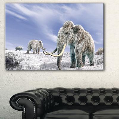 Designart Mammoth Elephants In Field Landscape Photography Canvas Print