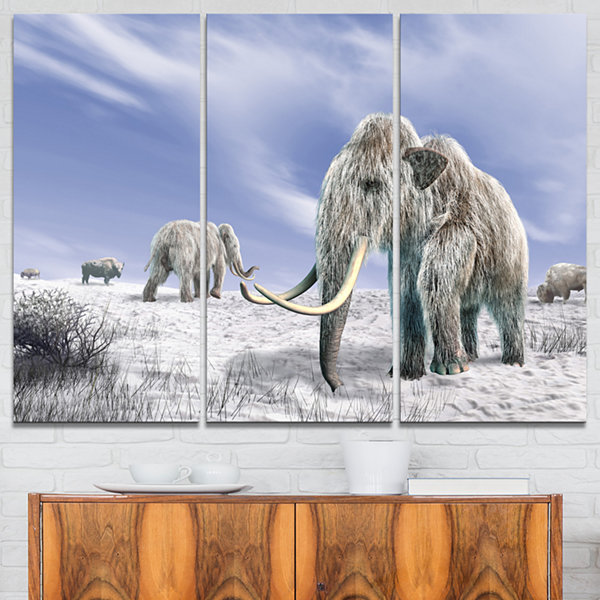 Designart Mammoth Elephants In Field Landscape Photography Canvas Print - 3 Panels