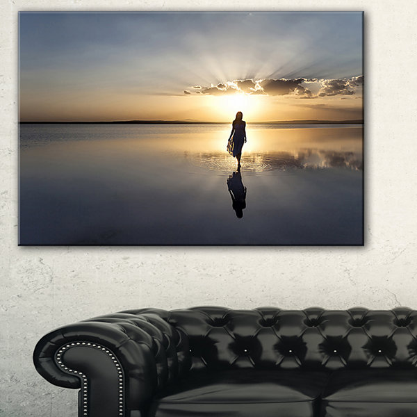 Designart Man Alone In Summer Landscape Photo Canvas Art Print