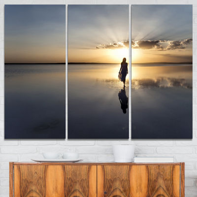 Designart Man Alone In Summer Landscape Photo Canvas Art Print - 3 Panels