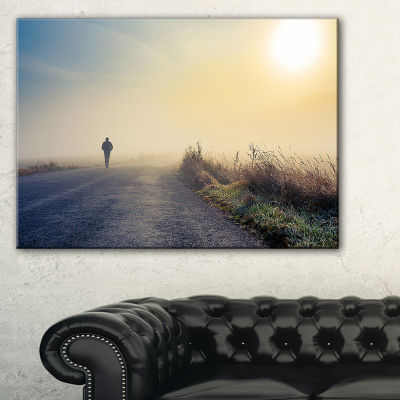 Designart Man Silhouette In Fog Landscape Photo Canvas Art Print