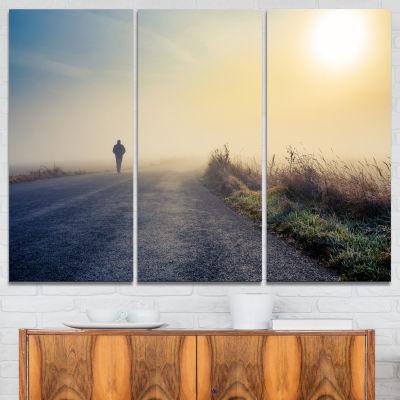 Designart Man Silhouette In Fog Landscape Photo Canvas Art Print - 3 Panels