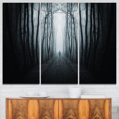 Design Art Man Walking In Dark Forest Landscape Photography Canvas Print - 3 Panels