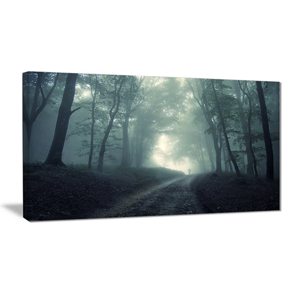 Designart Man Walking In Foggy Forest Landscape Photography Canvas Print