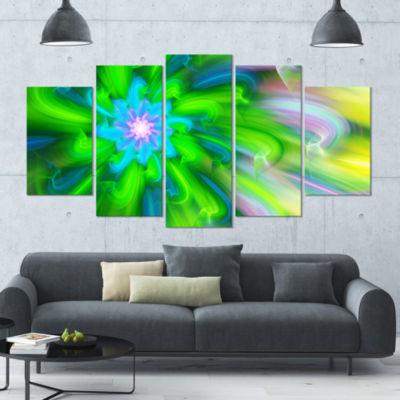 Designart Dance Of Green Flower Petals Large Floral Canvas Art Print - 5 Panels