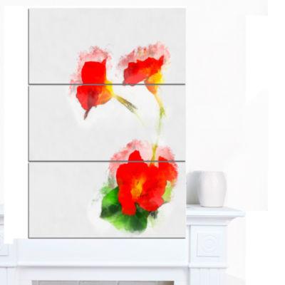Design Art Red Gentiana Alpina Watercolor Floral Canvas Art Print - 3 Panels