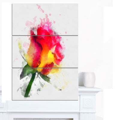 Designart Red Hand Drawn Rose Watercolor FlowersCanvas Wall Artwork - 3 Panels