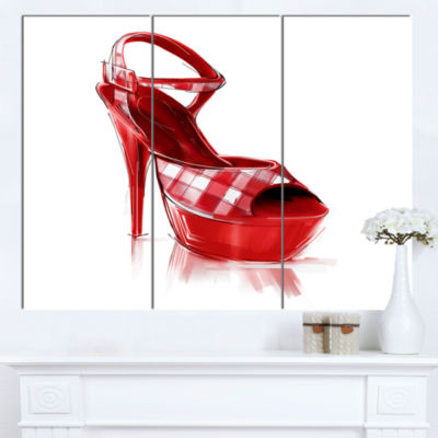 Designart Red High Heel Women S Shoe ContemporaryCanvas Art Print - 3 Panels