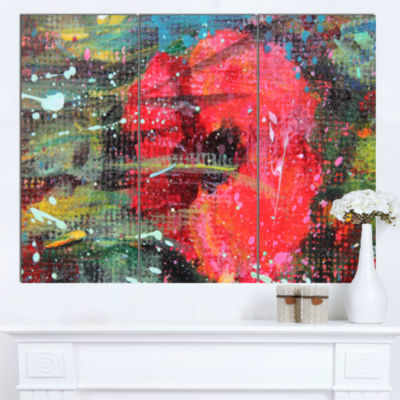 Designart Red Poppy Acrylic Drawing Extra Large Floral Wall Art - 3 Panels