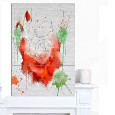 Designart Red Rose Illustration Watercolor FloralCanvas Art Print - 3 Panels