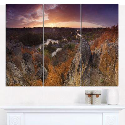 Designart Rural Autumn Sunset Panorama LandscapeCanvas Art Print - 3 Panels