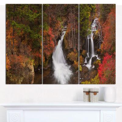 Designart Ryuzu Falls Near Nikko Japan LandscapeCanvas Art Print - 3 Panels