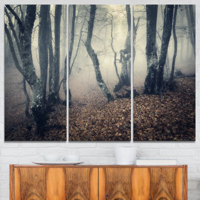 Designart Mystical Yellow Fog In Fall Forest 3-pc. Canvas Art