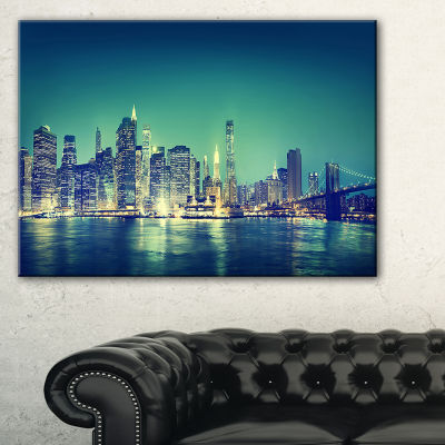 Designart New York City Panorama Night Concept Canvas Art