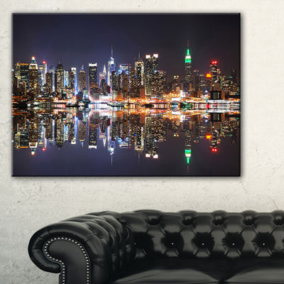 Designart New York City Skyscrapers In Blue Shade Canvas Art