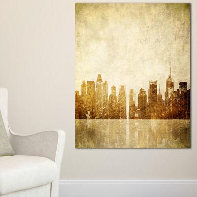 Designart New York Skyline Grunge View Canvas Art