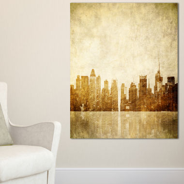 Designart New York Skyline Grunge View Canvas Art