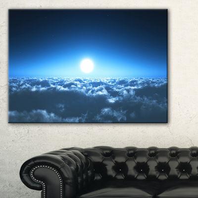 Designart Night Flight Above Clouds Canvas Art