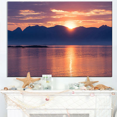 Designart Norwegian Seashore At Sunset Canvas Art