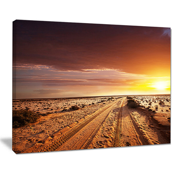 Designart Off Road In Desert At Sunset Canvas Art