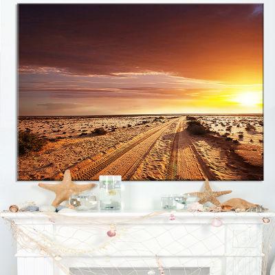 Designart Off Road In Desert At Sunset Canvas Art