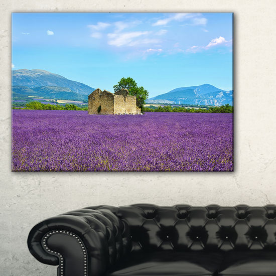 Designart Old House And Tree In Lavender Field Canvas Art