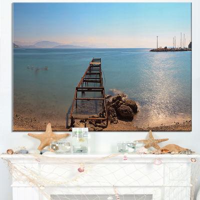 Designart Old Pier At Beach Panoramic View Canvas Art