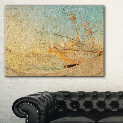 Designart Old Sailing Ship In Sunlight Canvas Art
