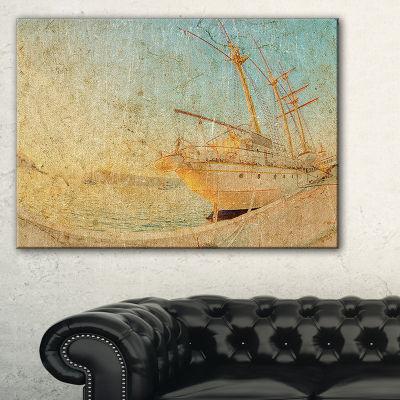 Designart Old Sailing Ship In Sunlight Canvas Art